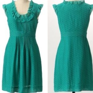 Anthro Moulinette Soeurs Teal Swiss Dot Dress 2
